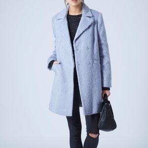 Topshop Blue Fuzzy Coat